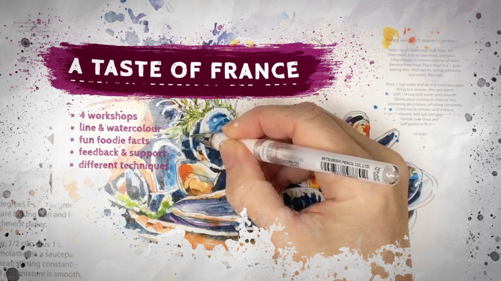 Virtual Workshops | Workshops, holidays and online courses to develop your sketching and watercolour skills whilst learning more about French life and culture.