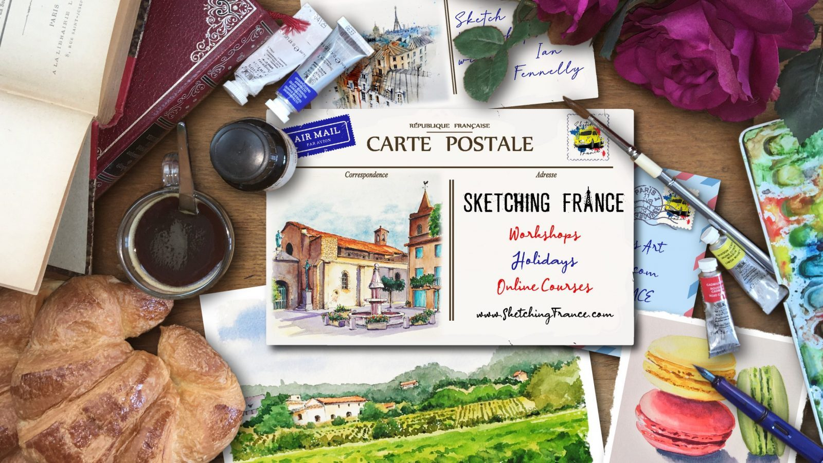 Sketching France! | Workshops, holidays and online courses to develop your sketching and watercolour skills whilst learning more about French life and culture.